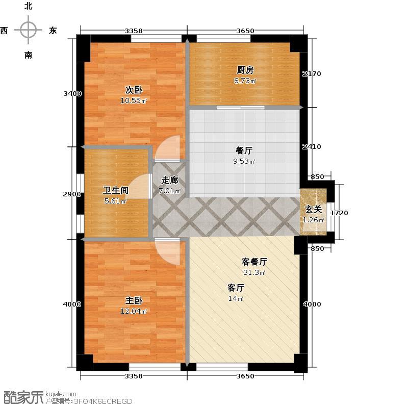 大连中航国际广场95.00㎡二室一厅一卫95平米户型图户型2室1厅1卫