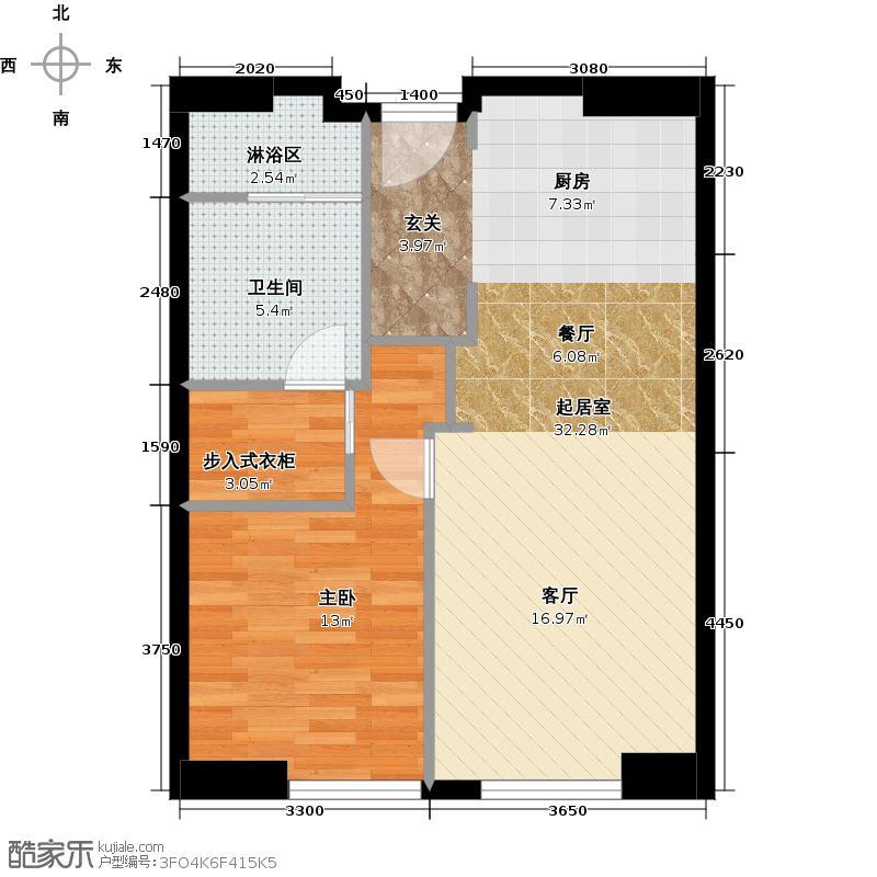 星天悦86.60㎡B1户型一室两厅一卫户型1室2厅1卫