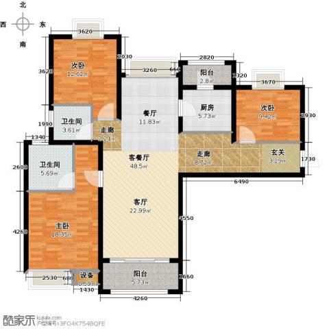 扬州国际公馆3室1厅2卫1厨128.00㎡户型图