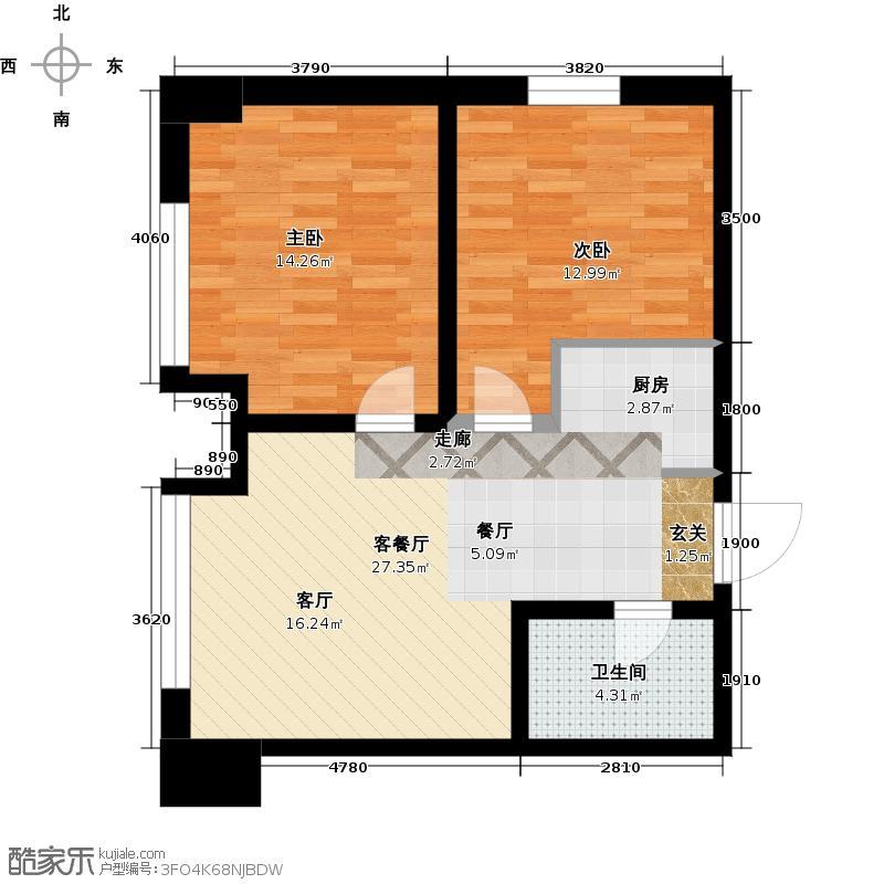 华都文郡68.00㎡两室一厅一卫户型2室1厅1卫