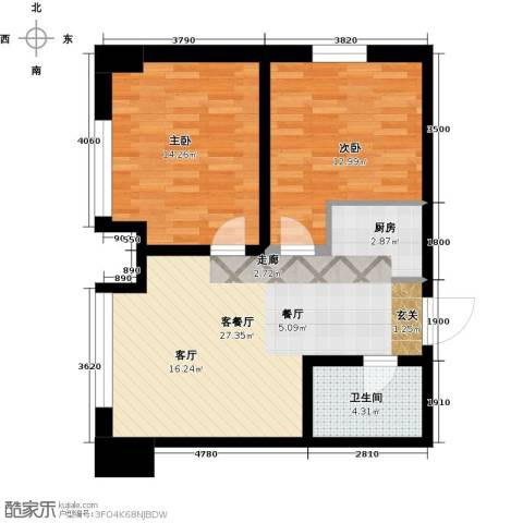 华都文郡2室1厅1卫0厨68.00㎡户型图
