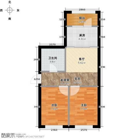 罗马公元2室0厅1卫1厨53.00㎡户型图