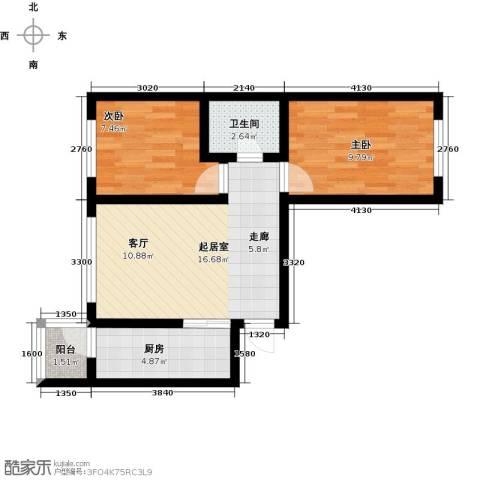 罗马公元2室0厅1卫1厨64.00㎡户型图