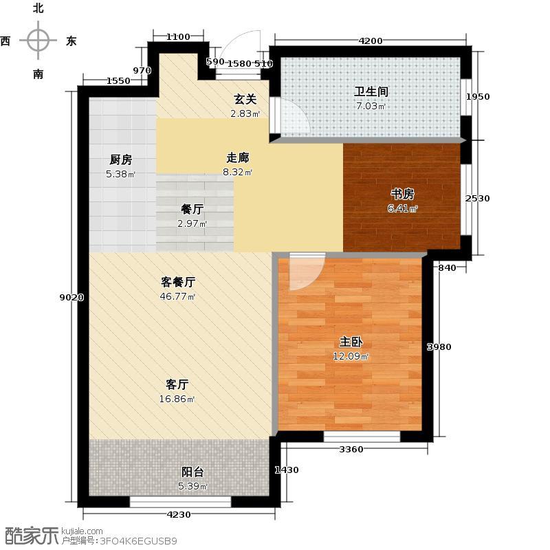 亿达天琴山78.00㎡C78平米二室一厅一卫户型图户型1室1厅1卫