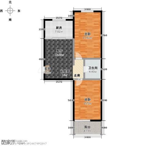 新世纪花园B区2室0厅1卫1厨83.00㎡户型图