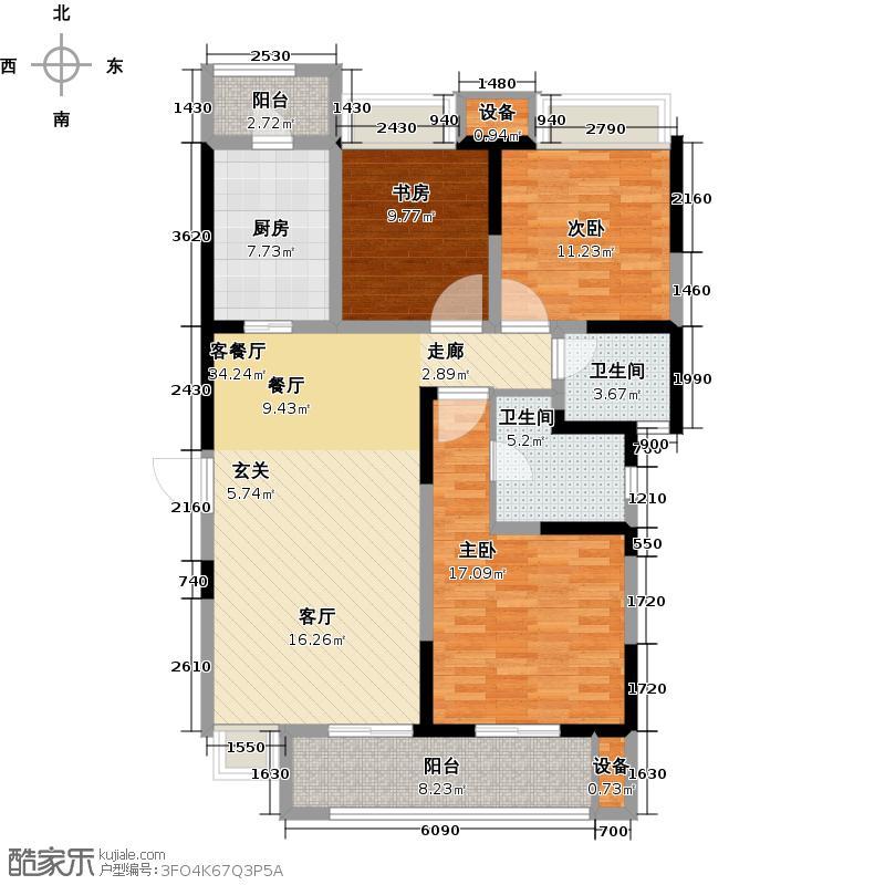 东宝康园116.00㎡东宝康园116.00㎡3室2厅2卫户型3室2厅2卫