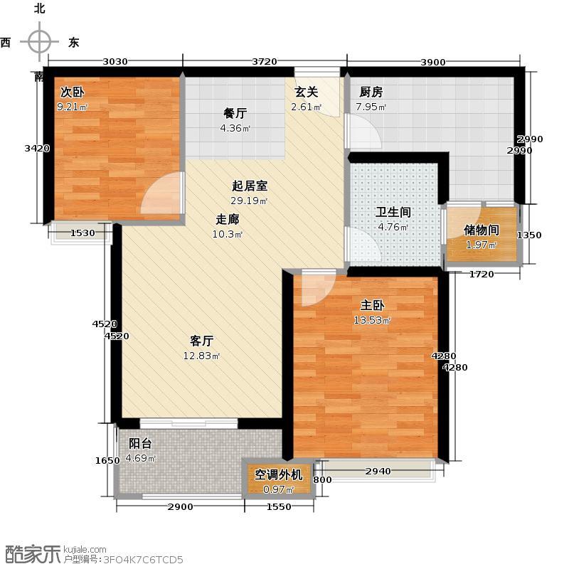 珑�轩86.00㎡3B户型2室2厅1卫