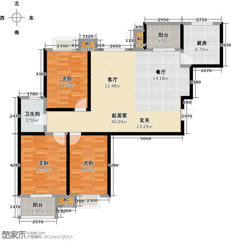 路劲御景城115.00㎡6号楼A户型约115平米三室两厅一卫户型