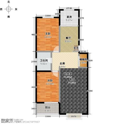 新世纪花园B区2室0厅1卫1厨109.00㎡户型图