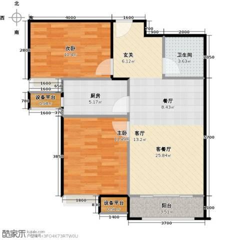 世纪学庭2室1厅1卫1厨79.00㎡户型图