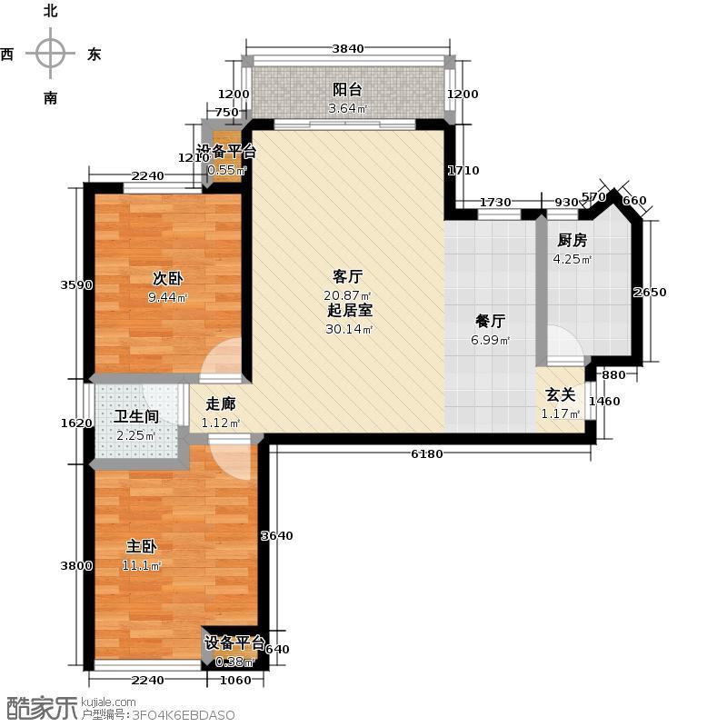 名品建筑85.25㎡2室2厅1卫户型2室2厅1卫CC