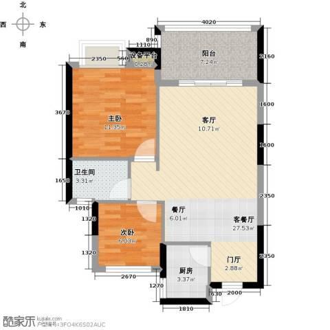 陵河家园2室1厅1卫1厨80.00㎡户型图
