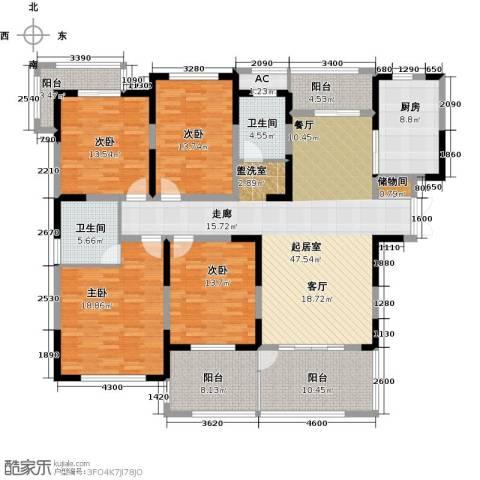 苏建名都城4室0厅2卫1厨222.00㎡户型图
