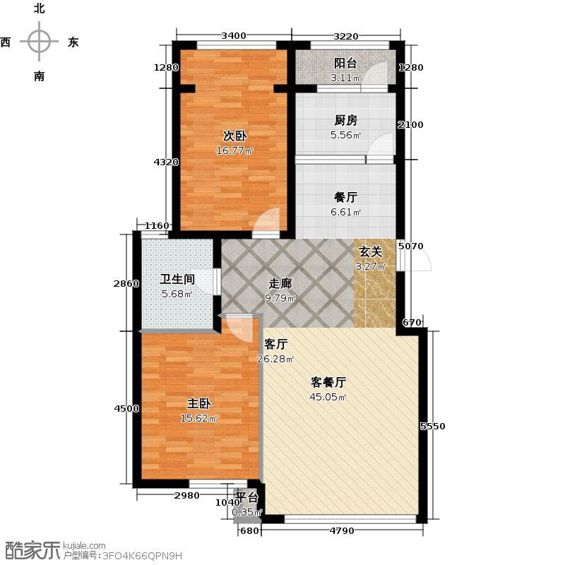 华都文郡104.00㎡两室两厅一卫户型2室2厅1卫