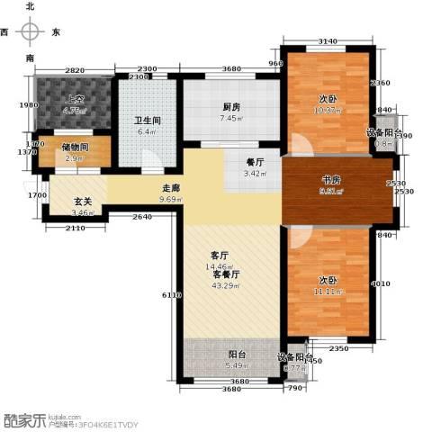 亿达天琴山2室1厅1卫1厨131.00㎡户型图
