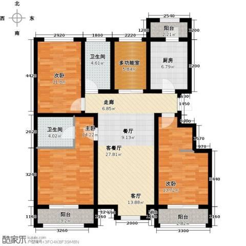 蓝山郡3室1厅2卫1厨119.00㎡户型图
