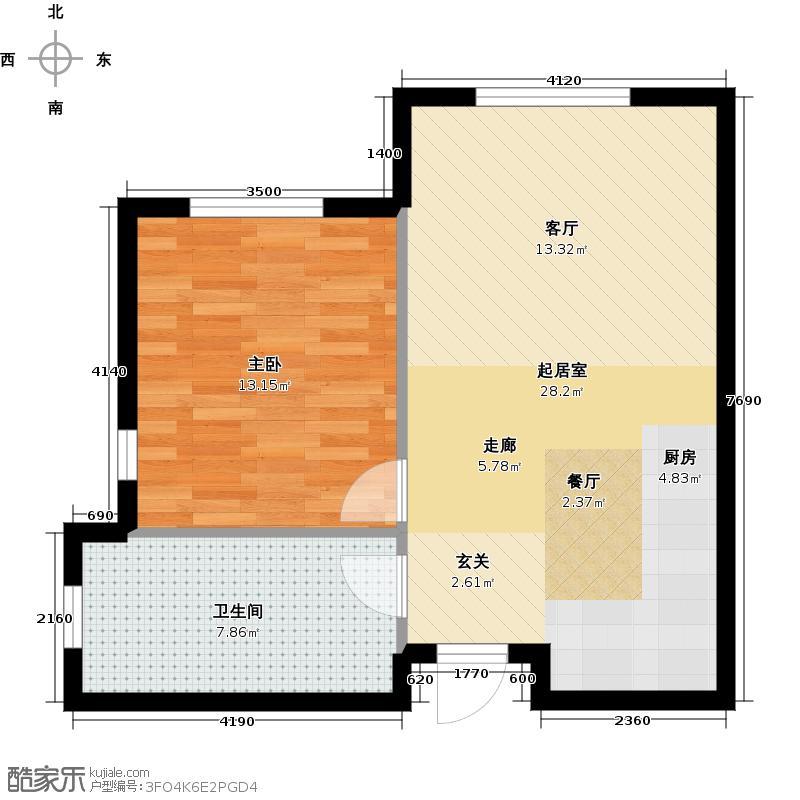 亿达天琴山56.00㎡A56平米一室一厅一卫户型图户型1室1厅1卫