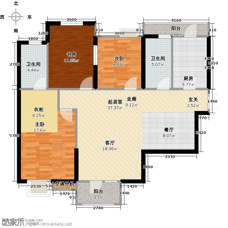 万润橄榄城119.00㎡B2户型 三房二厅二卫户型3室2厅2卫