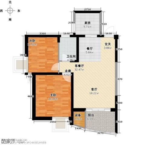 奕翔国际公寓2室1厅1卫1厨90.00㎡户型图