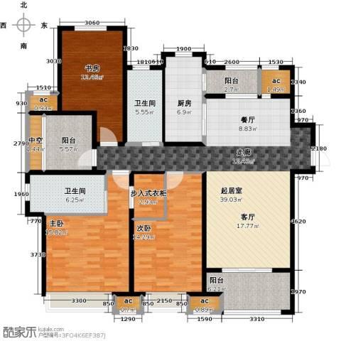 中海御景湾3室0厅2卫1厨140.00㎡户型图