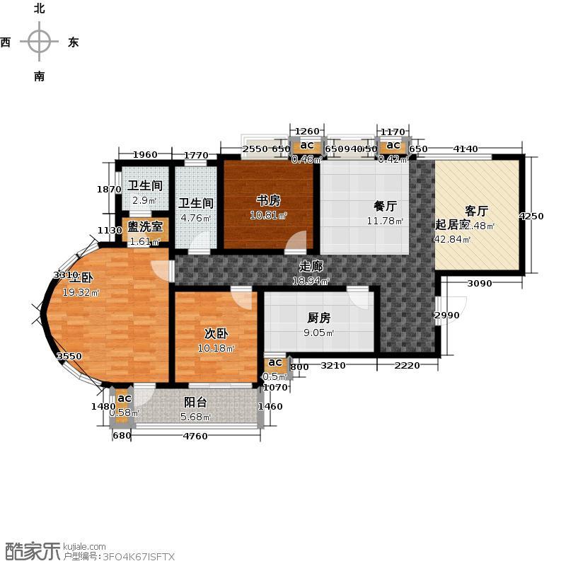 路劲御景城139.00㎡三室两厅两卫户型