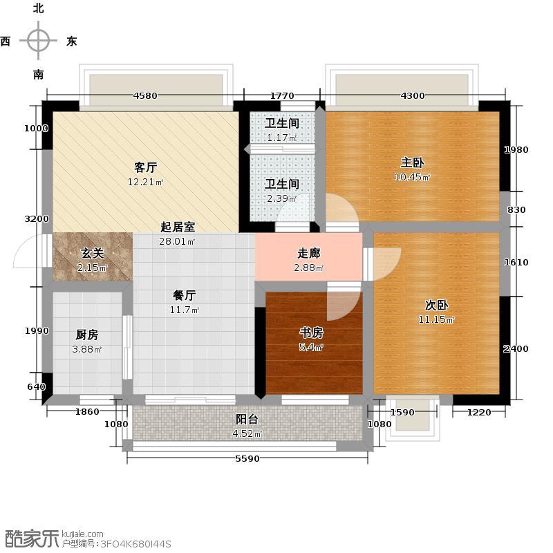 广电兰亭都荟89.00㎡一单元05户型 3室2厅1卫户型3室2厅1卫