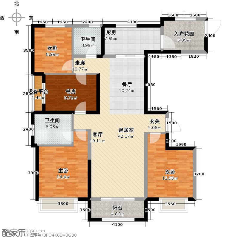 保利花园163.00㎡d1户型 四室两厅两卫户型