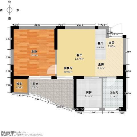 奕翔国际公寓1室1厅1卫1厨60.00㎡户型图