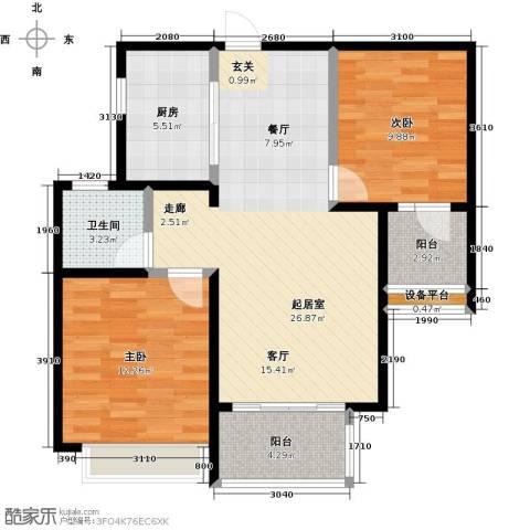 台�国际广场2室0厅1卫1厨93.00㎡户型图