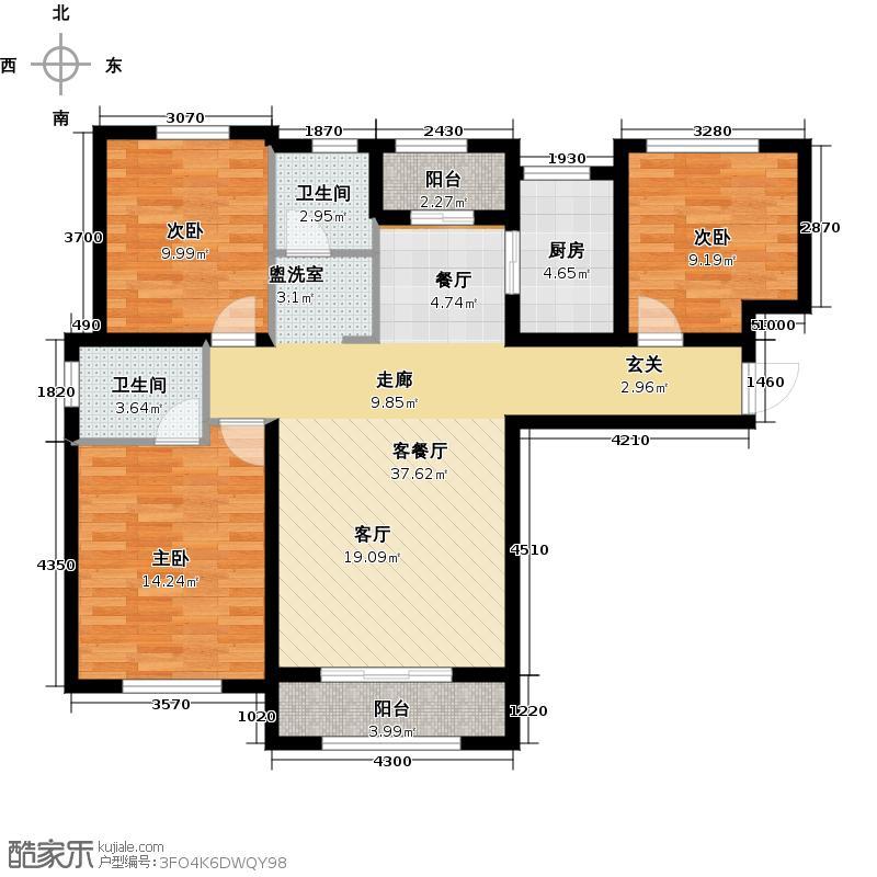 中庚香海金鼎G7-A户型3室1厅2卫1厨