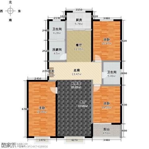 新世纪花园B区3室0厅2卫1厨152.00㎡户型图
