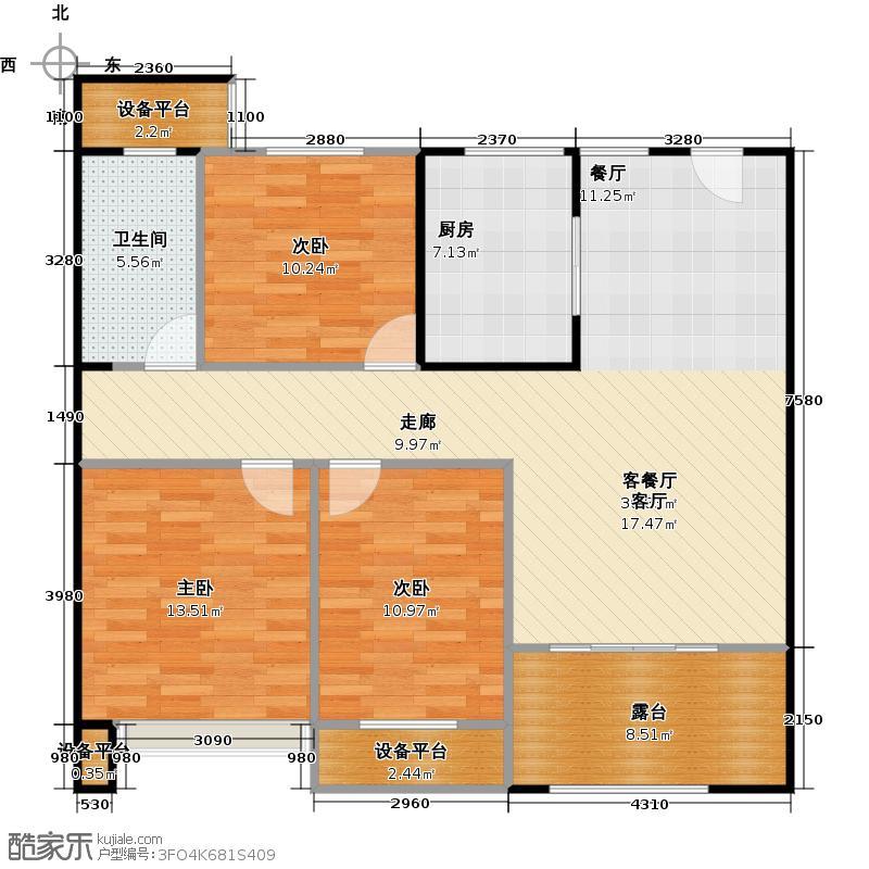 嘉宏云顶105.00㎡1#楼A2户型105平米户型3室2厅1卫