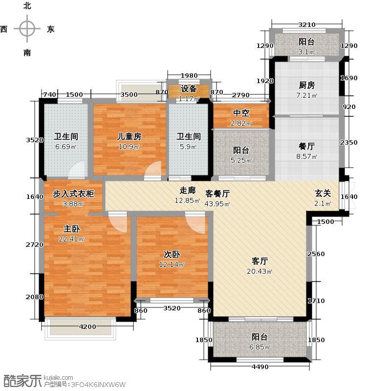 苏宁悦城146.00㎡二期5-8号楼B2户型3+1房2厅2卫户型4室2厅2卫