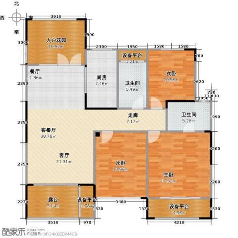 天顺御河湾3室1厅2卫1厨135.00㎡户型图