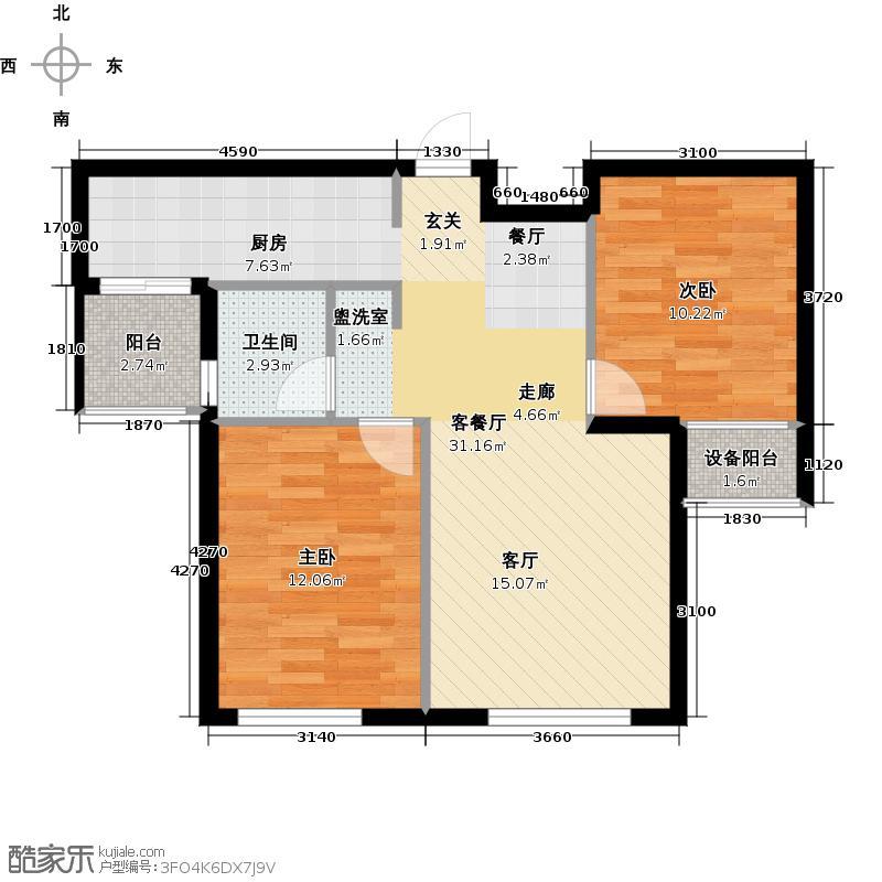 中庚香海金鼎G10-B户型2室1厅1卫