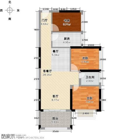 中央御园3室1厅1卫1厨91.00㎡户型图