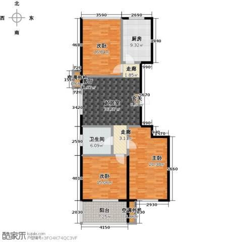 新世纪花园B区3室0厅1卫1厨119.00㎡户型图