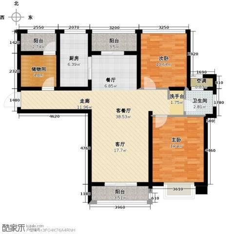 中锐星尚城2室1厅1卫1厨103.00㎡户型图