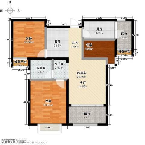 台�国际广场3室0厅1卫1厨106.00㎡户型图