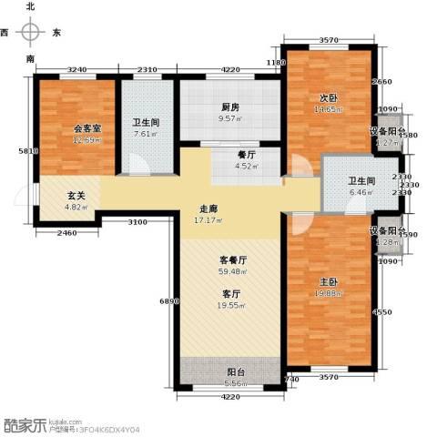 亿达天琴山2室1厅2卫1厨138.00㎡户型图