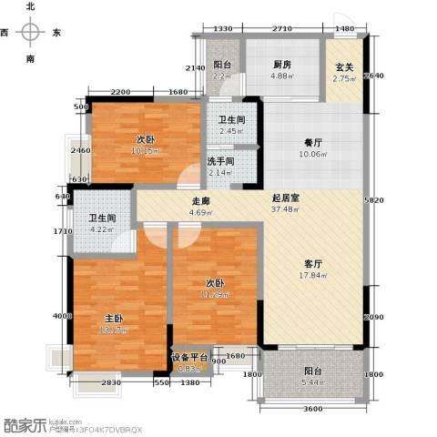 善德山庄3室0厅2卫1厨114.00㎡户型图