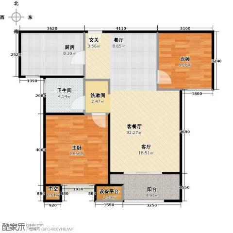 景瑞望府2室1厅1卫1厨80.00㎡户型图