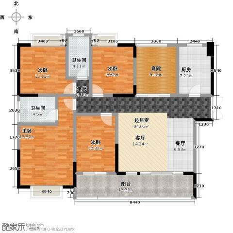 新地东方明珠4室0厅2卫1厨143.00㎡户型图