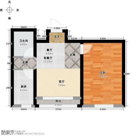 卓扬北湖湾1室1厅1卫1厨59.00㎡户型图