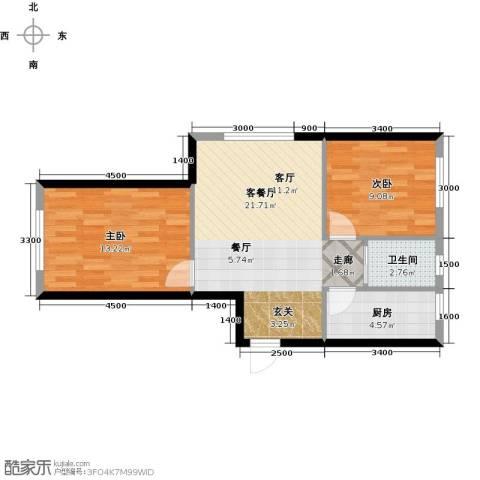 卓扬北湖湾2室1厅1卫1厨76.00㎡户型图
