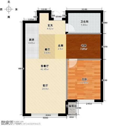 亿达天琴山1室1厅1卫0厨74.00㎡户型图