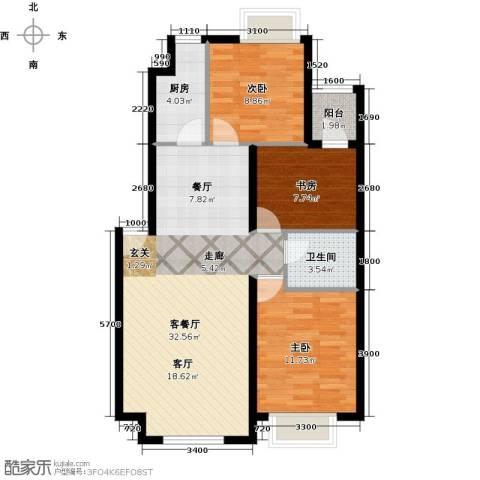 隆都翡翠湾3室1厅1卫1厨99.00㎡户型图