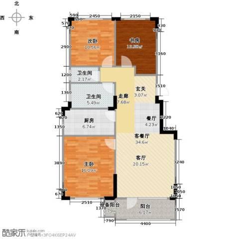 中海御湖熙谷3室1厅2卫1厨99.00㎡户型图