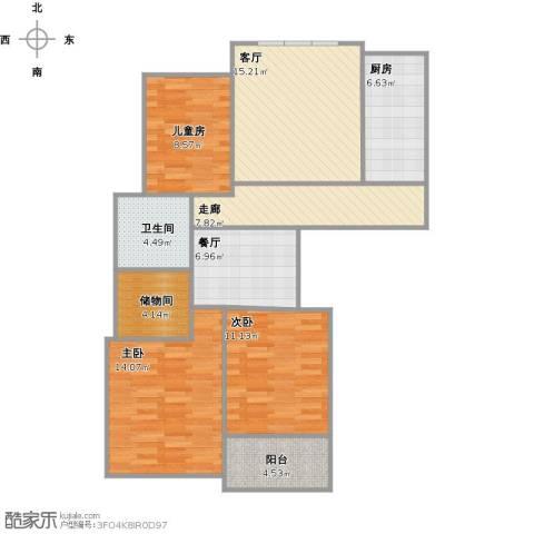 和平国际3室2厅1卫1厨114.00㎡户型图