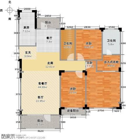 中海御湖熙谷3室1厅2卫1厨133.00㎡户型图